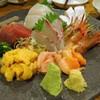 上総屋 眞吉 - 料理写真:刺し盛り:シマエビ、生うに、赤貝、ひらまさ、鰹、さざなみ鯛、しまあじ