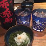 魚馳走亭 ちゃぽん - お酒は赤兎馬ボトル3780円 グラスは江戸切子
