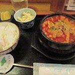 一りき - ホルモン豆腐定食¥800