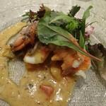 キャトルラパン - オマール海老の剥き煮と鯛のソテー(2016,03)