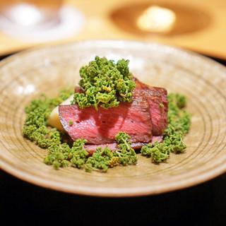 豪龍久保 - 料理写真:和牛ザブトンと塚原の筍、花山椒