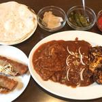 ロシータ - ノビオスセットのタコスとBコンビ(カルネ、エンチラーダ、チョリーソ)と主食(トルティーヤ)