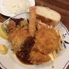 洋食屋 - 料理写真:16/5/14 カニコロッケと海老フライとチキンカツのランチ