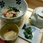 えん - 朝食『焼き鮭とゴマ昆布のだし茶漬』¥570-