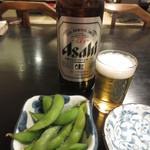 三松会館 - 大瓶ビール(640円)と枝豆