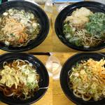 ふじ - 左上:かけそばに残り物のかき揚げon 右上:天ぷら小2ケそば 下段天ぷら小1ケうどん