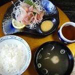 鯉西 - 「鯉あらい定食」¥700+¥300