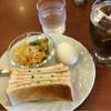 カフェウインドベル - 料理写真:焼きハムサンドイッチとアイスコーヒーのモーニングセットをいただきました(^o^)  とってもおいしかったです(≧∇≦)