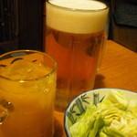 炉ばた茶屋 旅籠 - 料理写真:生ビール大ジョッキ マンゴージュース お通し塩ダレキャベツ