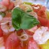 マカロニ食堂 - 料理写真:海老とフレッシュトマトとバジルの冷製パスタ     ¥1080