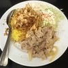 カレーは飲み物。 - 料理写真:赤い鶏カレー(大盛)のライス + ポテトサラダ + フライドガーリック + フライドオニオン + ガリ豚 シングル