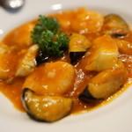 柊家 - エビイカナスチリソース煮