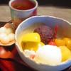 かのこ - 料理写真:白玉クリームあんみつ 寒天少なめ  550円 白玉を乗せるのを忘れたみたいなので別提供でした(笑)