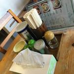 らーめん十倉 - テーブル調味料のセット