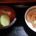 わんや - お新香と小鉢(切り干大根) 2016.5