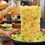 魚河岸 丸天 - 海鮮かき揚げ丼(あら汁付)¥1,100(税抜)