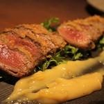 51550514 - 鹿肉のレアカツ ゆず味噌ソース
