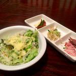 吾照里 - 温製麺定食のサラダ&韓国小皿三品❀