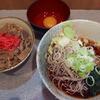 甲斐そば - 料理写真:牛丼セット・冷したぬきそば(520円)+生玉子(60円)