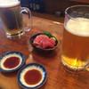 魚三酒場 - 料理写真:生ビール マグロぶつ 2016.5