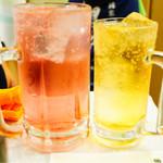 西口やきとん - ピンクがバイス(大) 黄色がホイス