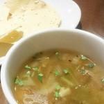 グリーンインドレストラン - パパドと日替わりスープ