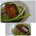 メゾン ドゥ アッシュ - ◆フォアグラ、筍と山菜のリゾット添え(+540円)・・これ美味しい。 フォアグラ自体の質もいいですし、焼き加減も絶妙。