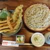 ながや - 料理写真:あなご天丼(ご飯大盛) + ざる(十割そば)=1,750円(税込)。