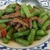 シャム - 料理写真:牛肉といんげんの炒め物(ライス付き)。