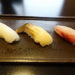 鮨 恵三 - 藤袴 白イカ、ホッキ貝、イサキ