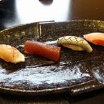 鮨 恵三 - 藤袴 かすご、まぐろの漬、こはだ、金目鯛
