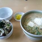 中華そば 田村 - クリームチーズラーメン(小)+粉チーズ(トッピング)+豚めし(小)+からしマヨネーズ(トッピング)