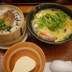 大戸屋 - 陸奥湾産ホタテのせいろご飯と本にがり豆腐とチキンのトロトロ煮せっと