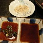 5224049 - 「馬刺しロース」用の甘い醤油、にんにく醤油、塩