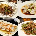 リトル成都 - 左上から時計回りに牛串、りーちぇ餃子、チンジャオロース、焼き餃子。もう記憶無い。