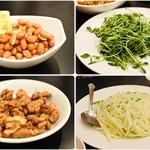 リトル成都 - 左上から時計回りにお通しの豆、豆苗炒め、ジャガイモ炒め、ナッツ。炒め物はさっぱり、お豆は塩が効いちょります。