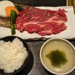 52262753 - 炙り焼ステーキ120gセット…税別980円