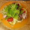 尾野 - 料理写真:鱧と明石のタコのサラダ、アルファルファとか豆苗とか野菜もいっぱい♪