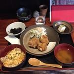 りあん - ハーフ親子丼+ハーフ唐揚げランチ850円