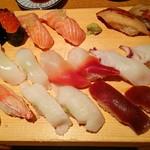 すし玉 - すし玉@ルミネ横浜店 かに身、えんがわ、づけまぐろ、いか、ほっき貝、たこ、いくら、炙りとろサーモン、あなご 2015年10月