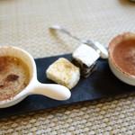ル モマン - バナナとチョコのクラフティと、胡麻をまぶしたマシュマロ