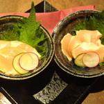京町個室居酒屋 魚御殿 - 鶏ささみのウニソース和え(雲丹しゃぶ料理コースの4000円コース)