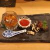 器楽亭 - 料理写真:前菜 (子持ちヒシガニの内子と蓴菜 土佐酢のジュレがけ、自家製筋子の粕漬け、ローストビーフ と 蕨とお揚げの胡麻和え)
