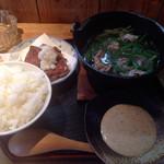 萌木 - 料理写真:日替わりランチ まぐろの竜田揚と豚しゃぶ小鍋