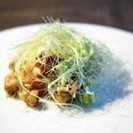 ラス - 新鮮なヤングコーンに包まれた帆立貝のフリット