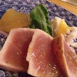 すてーき一郎 - まぐろのたたき風、はもおとし(酢味噌)、冬瓜の含め煮、レッドオニオン