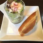 森乃館 - パスタランチのサラダとパン