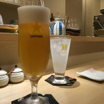 てんぷら・松 - 生ビール、ゆずソーダ