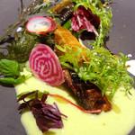 MILLE - 太田川の天然鮎の燻製とサラダ