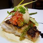 MILLE - 天然真鯛のポワレ ブールブラン、イカスミ、レモンのソース